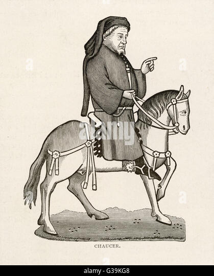 GEOFFREY CHAUCER (1340 - 1400) English poet as a  Canterbury pilgrim - Stock Image