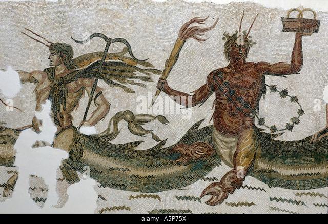 Mosaic Bardo museum Tunis Tunisia - Stock Image