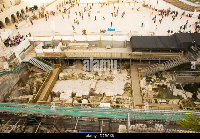 Archaeology excavations in front of the Western Wall (Feb. 2010) - Stock Image