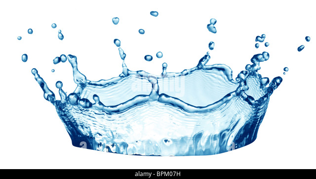 Splash water forms a water-crown. On a white background. - Stock Image