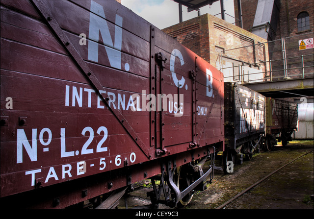 NCB British Rail BR coal truck National Coal Board railyard rail yard - Stock Image