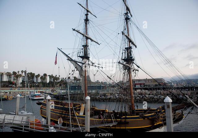 Nov. 23, 2011 - Redondo Beach, California, U.S. - The Lady Washington sits docked in King Harbor in Redondo Beach. - Stock Image