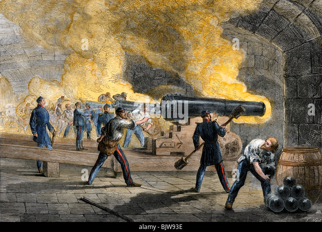 Big guns of Fort Sumter returning fire from Fort Moultrie at the start of the Civil War, 1861 - Stock Image