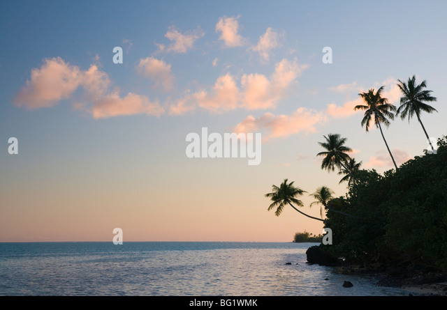 Sunset, Maupiti Lagoon, Maupiti, French Polynesia, South Pacific Ocean, Pacific - Stock-Bilder
