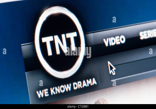 Close up of the TNT logo as seen on its website. (Editorial use only: print, TV, e-book and editorial website). - Stock Image