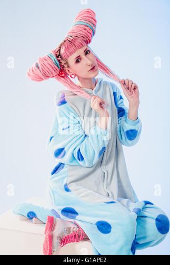 Girl in pajamas - Stock Image