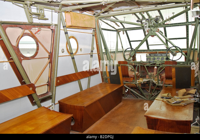 Texas Lubbock Silent Wings Museum dedicated to World War II glider operations CG 4A glider interior - Stock Image