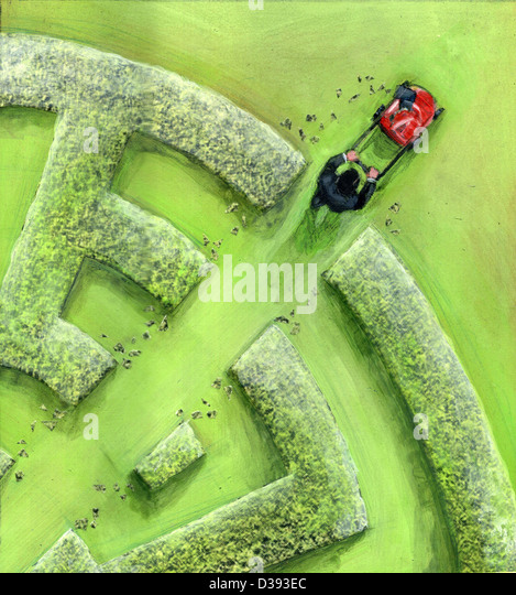Businessman breaking maze by a lawn mower - Stock-Bilder