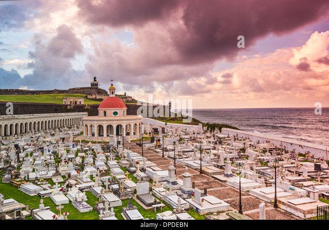 San Juan, Puerto Rico historic cemetery at Fort San Felipe Del Morro. - Stock Image