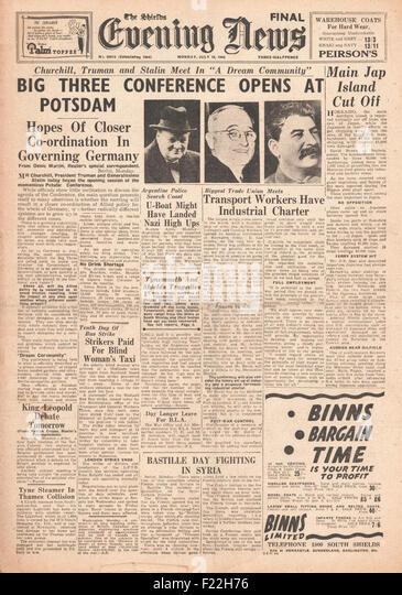 1945 The Shield's Evening News First Day of Potsdam Conference - Stock Image