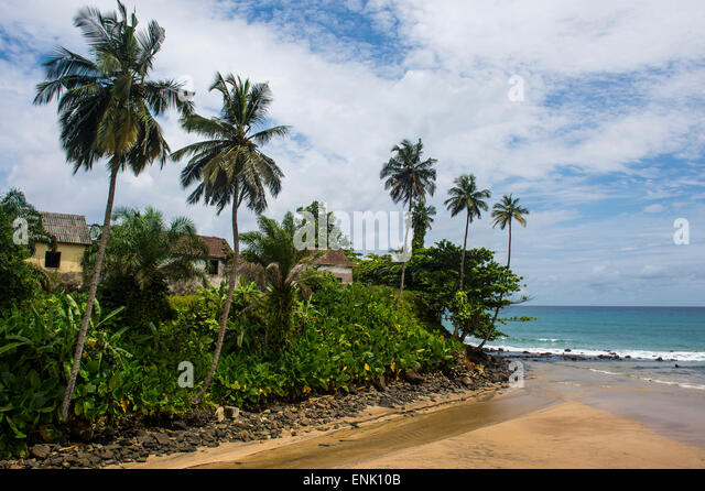 Colonial buildings in Caue, east coast of Sao Tome, Sao Tome and Principe, Atlantic Ocean, Africa - Stock-Bilder