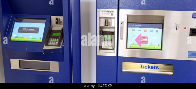 Self-service rail ticket machines, Warrington Station, Cheshire, England - Stock Image