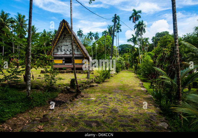 Oldest Bai of Palau, a house for the village chiefs, Island of Babeldoab, Palau, Central Pacific, Pacific - Stock-Bilder