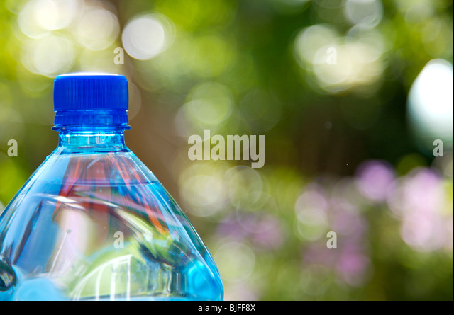 Close up of blue water bottle - Stock Image