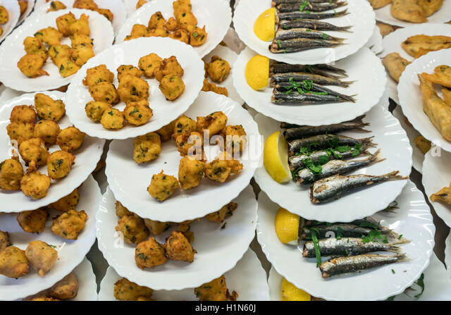Food Stall with Specialities from Nice, Beignets, Sardines,   Alpes Maritimes, Provence, French Riviera, Mediterranean, - Stock Image