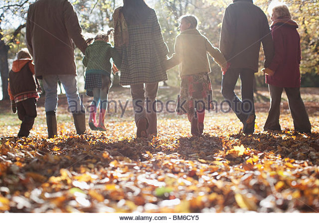 Extended family holding hands and walking outdoors - Stock-Bilder