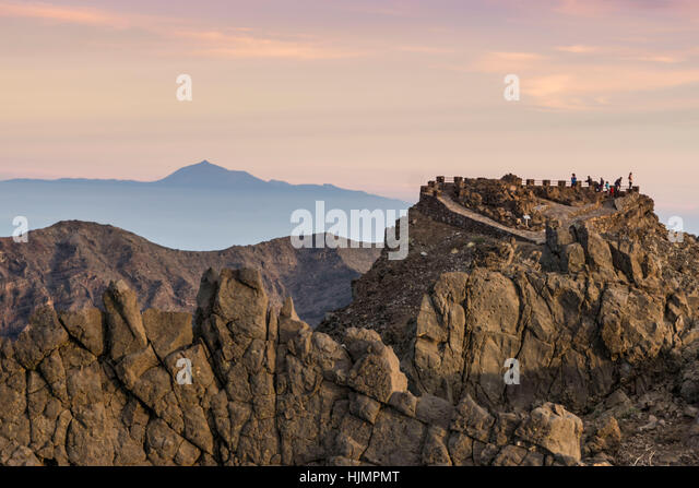 Roque de Los Muchachos, highest view point, background mountain Teide Tennerife, La Palma, Canary Islands, Spain - Stock Image