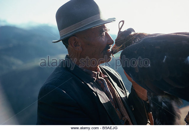 In Kazakh tradition man and eagle form a unique relationship, Zalanach, Kazakhstan, Central Asia - Stock Image