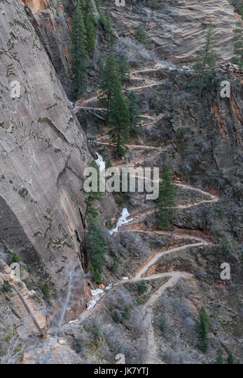 Switchback to Hidden Canyon veer away from the trail to observation point - Stock Image