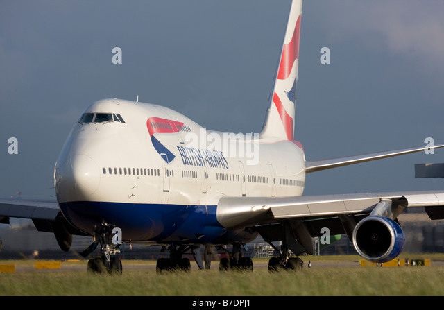 British Airways Boeing 747 at London Heathrow airport. - Stock Image