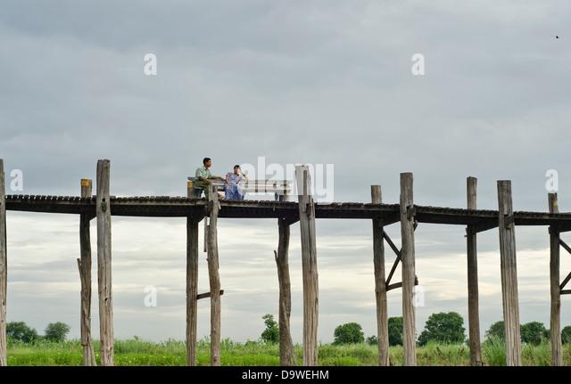U-Bein bridge,Amarapura,Mandalay,Burma - Stock-Bilder