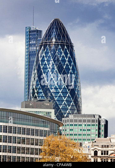 London skyline with 30 St Mary Axe better known as the Gherkin, London, England. - Stock Image