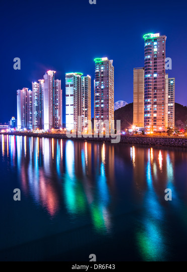 Busan, South Korea luxury high rise apartments. - Stock Image