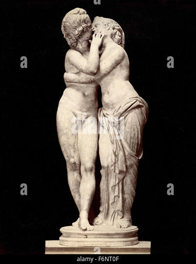 Cupid and Psyche, statue, Italy - Stock Image