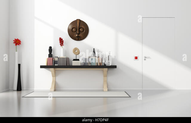 Minimalist home entance with consolle - Stock Image