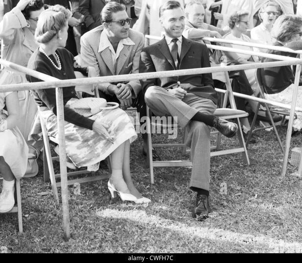 Mrs Porfirio Rubirosa ( Barbara Hutton ), Alexis Obolensky and Porfirio Rubirosa at polo match in Palm Beach, Florida, - Stock Image