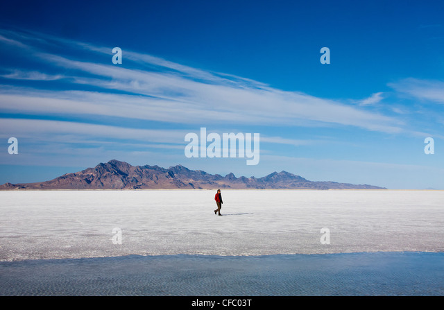 USA, Utah, Bonneville, Salt Flats, big, curious, dessert, dry, flat, travel, huge, man, nature, salt, touristic, - Stock Image