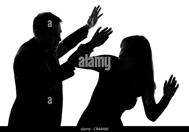 one caucasian couple man and woman expressing domestic violence in studio silhouette isolated on white background - Stock Image