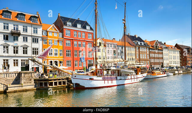 The boat moored in Nyhavn Canal, Copenhagen, Denmark - Stock Image
