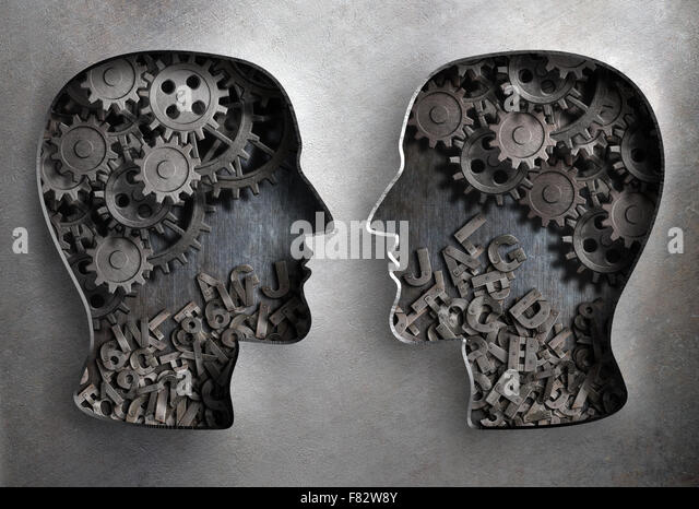 dialog or communication, information and knowledge exchange - Stock Image