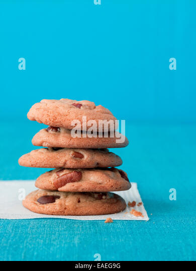 stack of chocolate chip cookies - Stock Image