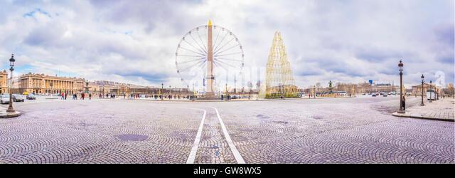 Panorama with Place de la Concorde in Paris - Stock Image