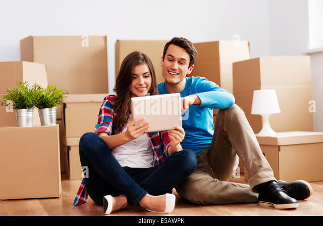 Happy couple take decisions  Debica, Poland - Stock Image