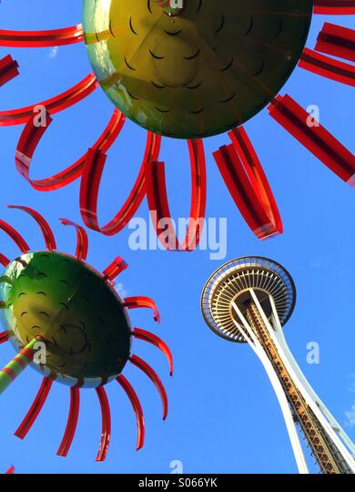 Space Needle, 'Sonic Boom' sculpture, Seattle Center, Seattle, Washington - Stock Image