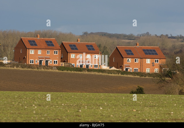 Solar water heater roof panels - Stock Image