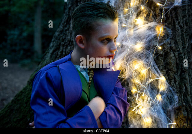 A boy dressed in costume for Halloween Night. - Stock-Bilder