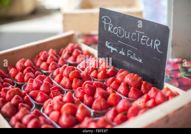 High Angle View Of Strawberries On Display At Store - Stock Image