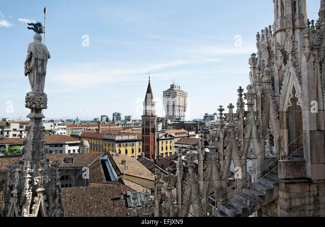 View from the Milan Cathedral, Milan, Lombardy, Italy - Stock Image