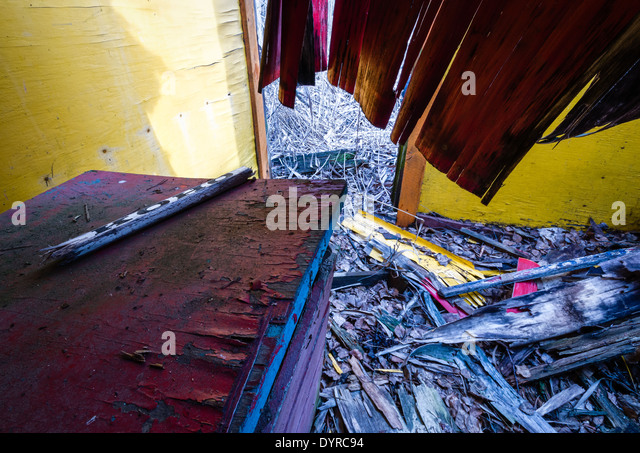 Decayed dressing room for ice skaters. - Stock Image