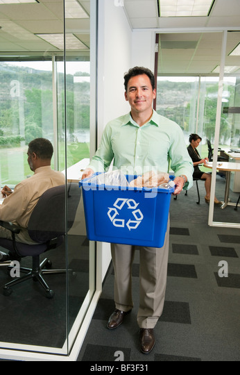 Recycling at the office - Stock Image