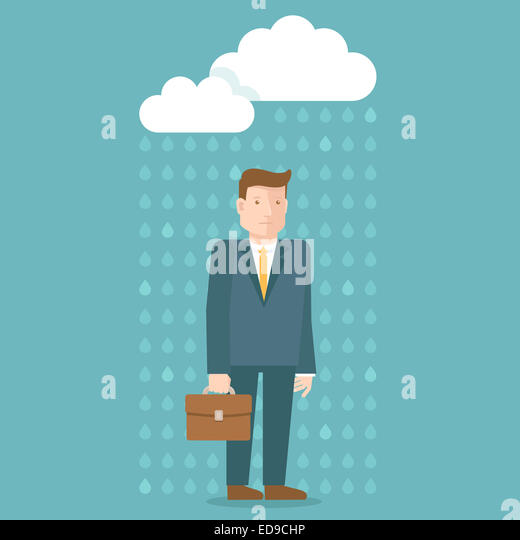 Bad day concept in flat style - businessman under the rain cloud - depressed and tired - Stock-Bilder