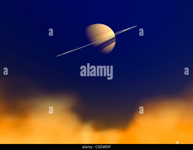 Artist's concept of Saturn amongst the hydrocarbon haze of its moon Titan. - Stock Image
