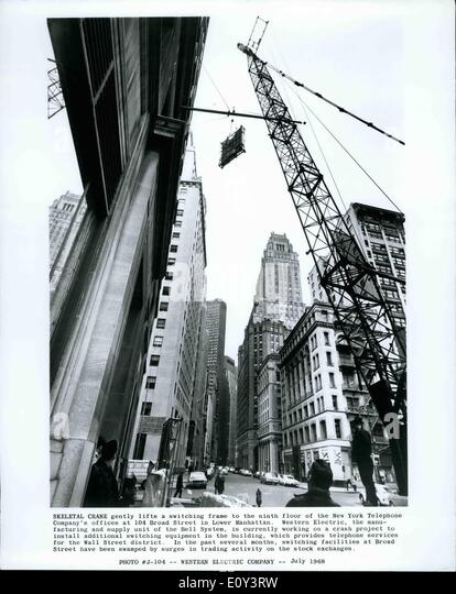Jul. 07, 1968 - Skeletal Crane gently lifts a switching frame to the ninth floor of the New York Telephone Copany's - Stock Image