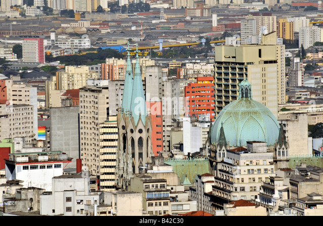 Se Cathedral view from rooftop of Italia Building Sao Paulo Brazil - Stock Image