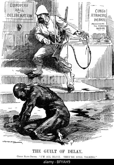 SLAVERY IN THE CONGO  British cartoon criticises delay in outlawing slavery in the Belgian Congo - Stock-Bilder