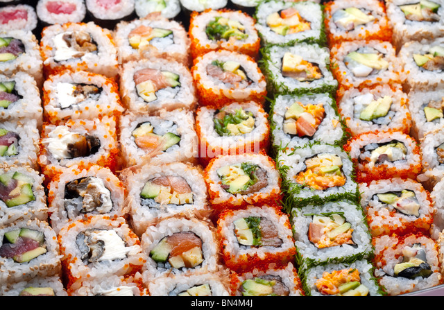 Sushi and rolls - Stock Image